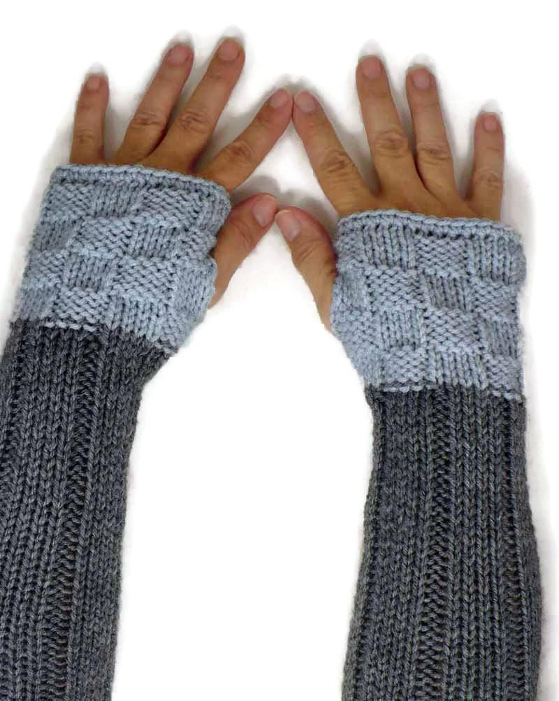 Nothingbutstring Gloves Two-Tone Heather Grey and Pale Grey Elbow Length Fingerless Gloves