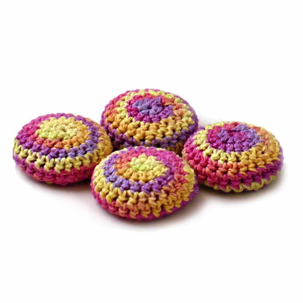 Nothingbutstring Hand Crafted Crochet Cover Buttons in Yellow Peach Fuchsia and Lavender