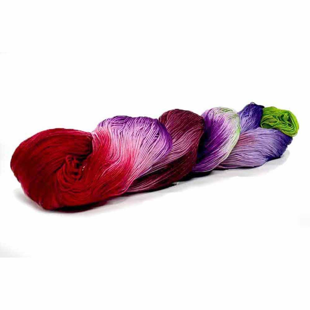 bright green, dark red violet, dark purple, dark red, and lavender thread by Nothingbutstring