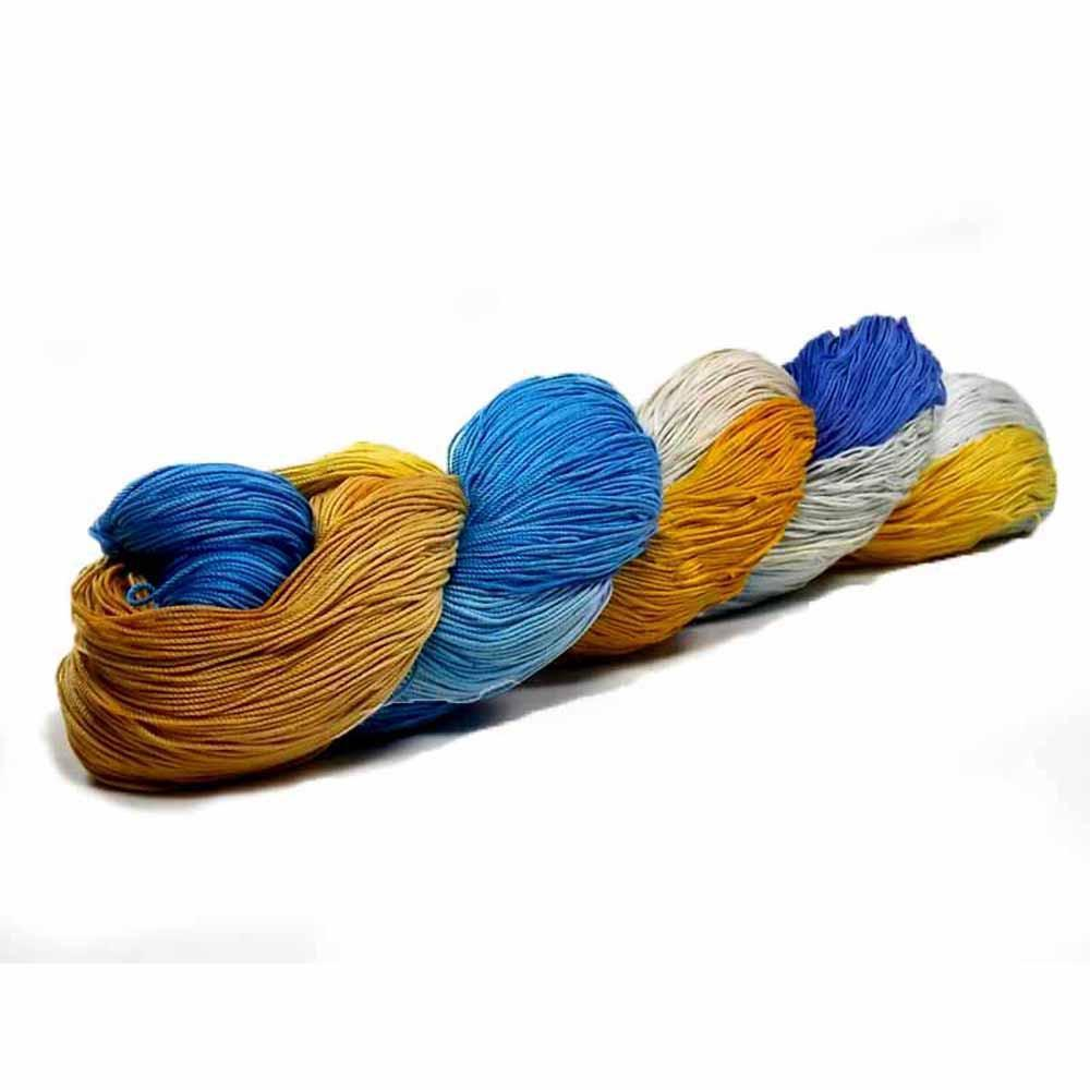 Hand dyed in gray, ecru, mustard yellow, periwinkle, and light blue by Nothingbutstring