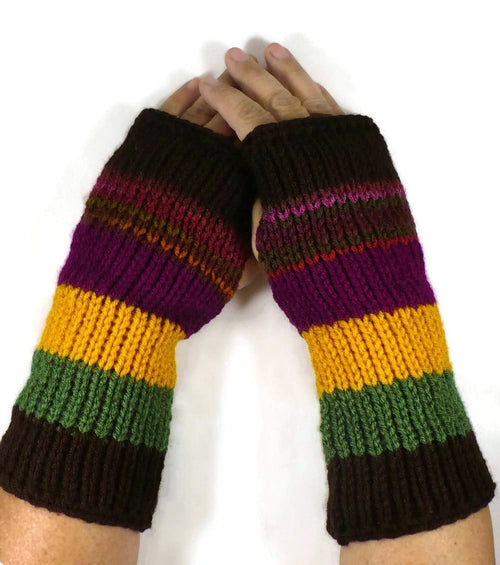 Nothingbutstring Knit Handmade Striped Fingerless Gloves in Boysenberry Yellow Olive Green Brown and Multi Colored Yarn
