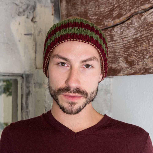 Nothingbutstring Knit Hat Mens Cuffed Knit Hat in Cafe Brown, Olive Green and Burgundy