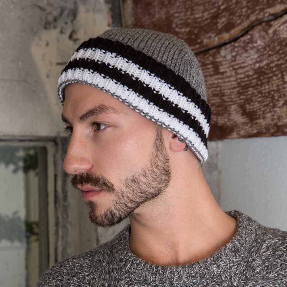 Nothingbutstring Knit Hat Mens Cuffed Knit Hat in Grey, White and Black