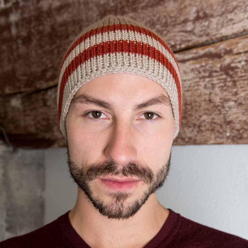 Nothingbutstring Knit Hat Mens Hand Made Knit Winter Ski Cap in Mushroom, Oatmeal, and Redwood