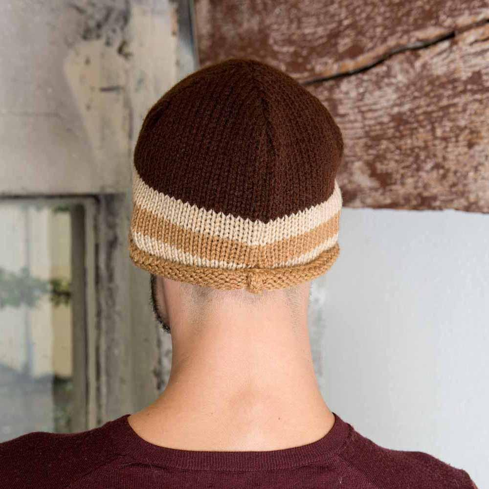 Nothingbutstring Knit Hat Mens Knit Skull Cap in Chocolate Brown, Warm Browm and Beige