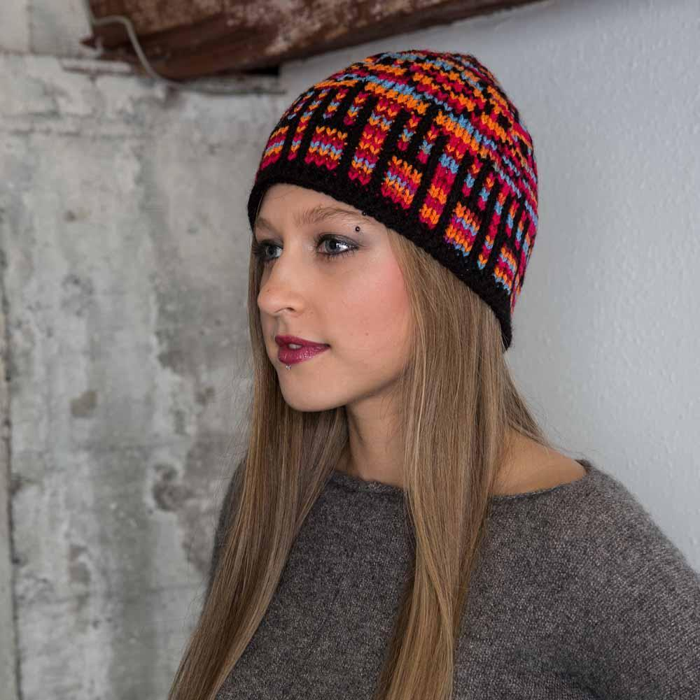 Nothingbutstring Knit Hat Multicolored Stained Glass Womens Knit Beanie