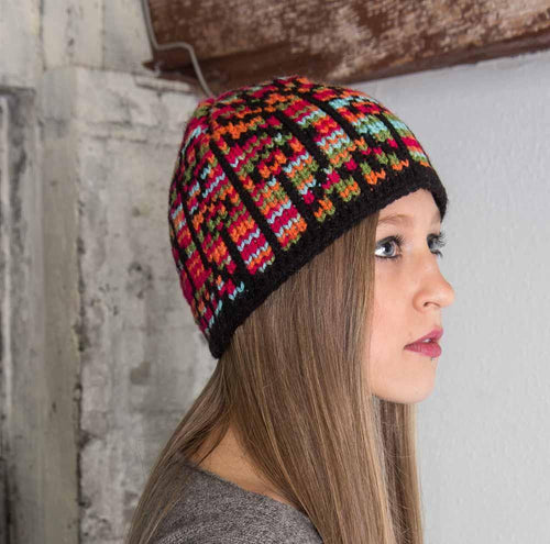Nothingbutstring Knit Hat Multicolored Stained Glass Womens Knit Winter Hat