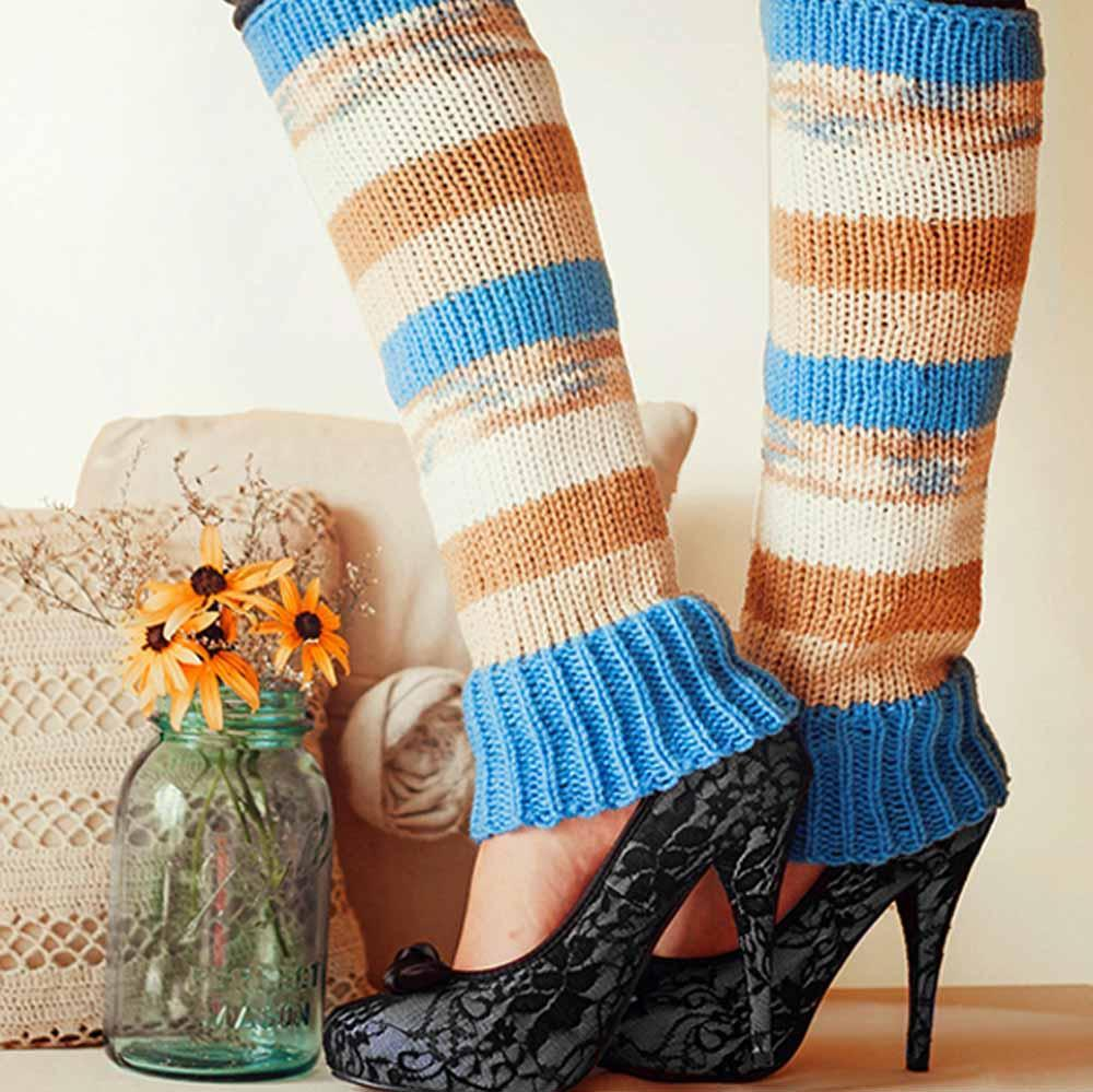 Nothingbutstring Leg Warmers Fashion Woman's striped knit leg warmers in blue, beige, brown, and cream