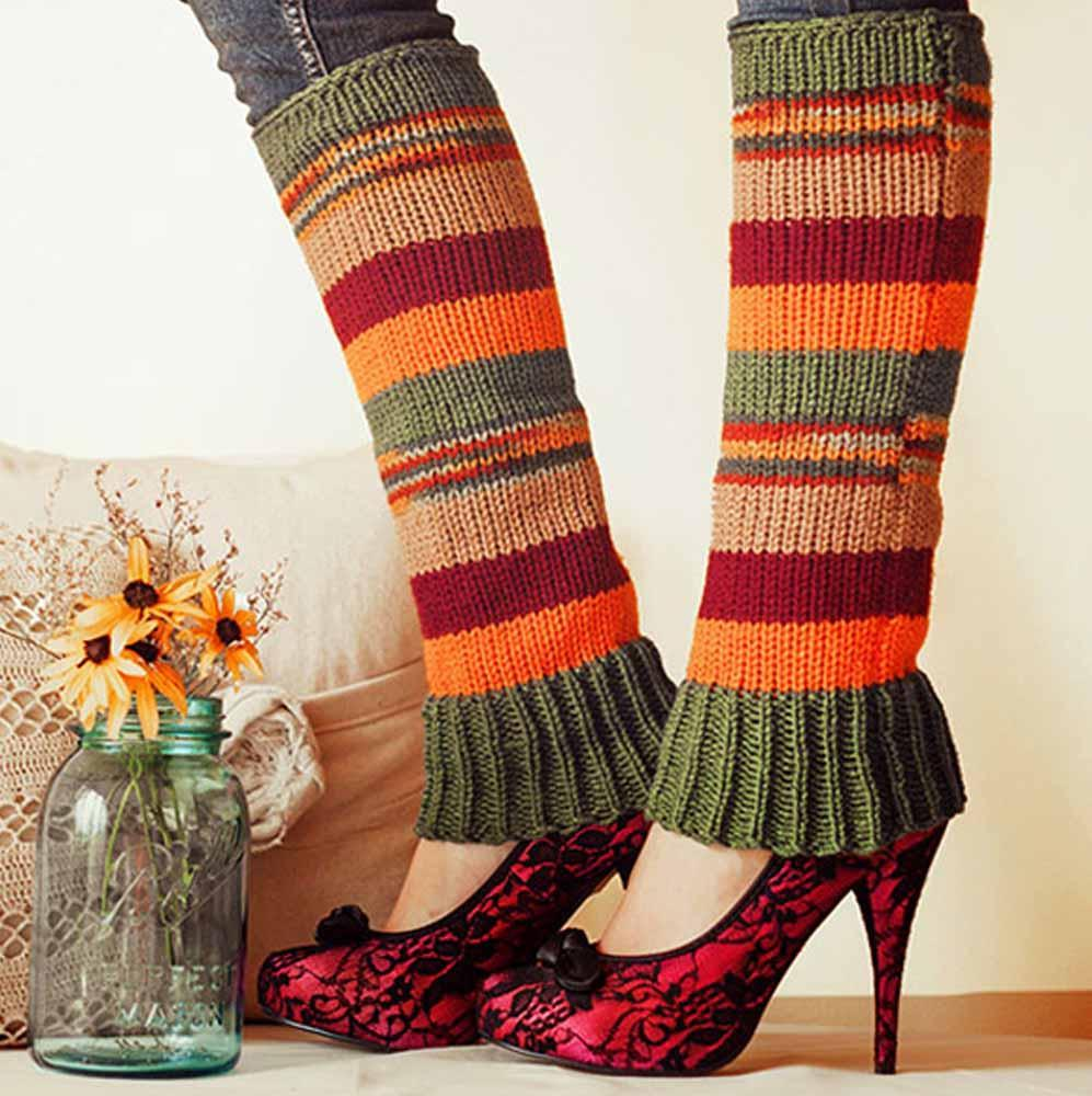 Nothingbutstring Leg Warmers Fashion Woman's striped knit leg warmers in olive green, cafe brown, cranberry, and orange