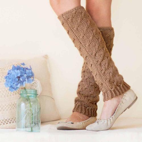 Nothingbutstring Leg Warmers Hand made Knit Womens Cable Leg Warmers in Cafe Brown