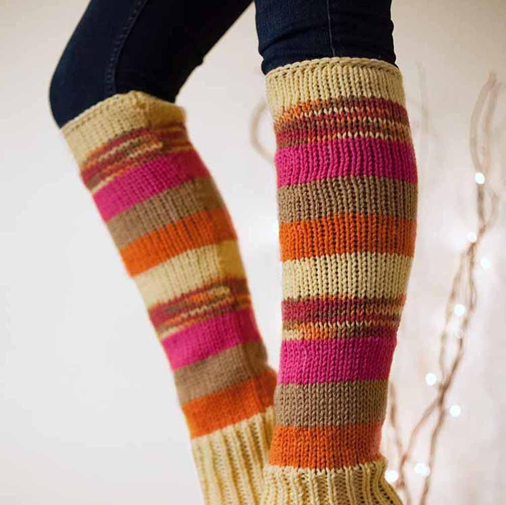 Nothingbutstring Leg Warmers Hand made woman's striped knit leg warmers in yellow, orange, warm brown, and fuchsia