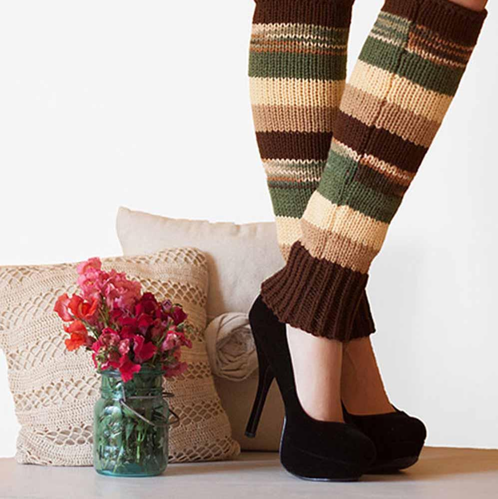 Nothingbutstring Leg Warmers Woman's Accessory striped knit leg warmers in brown, yellow, green and beige