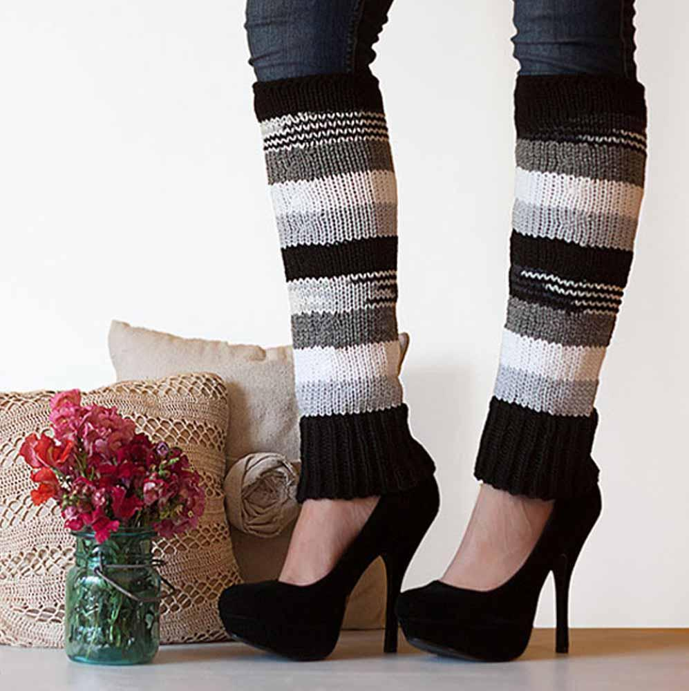 Nothingbutstring Leg Warmers Woman's striped knit leg warmers in black, white, grey, and light grey