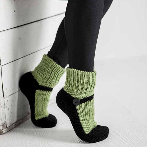 Nothingbutstring Slipper Socks Adult Mary Jane Slipper Socks in Green and Black