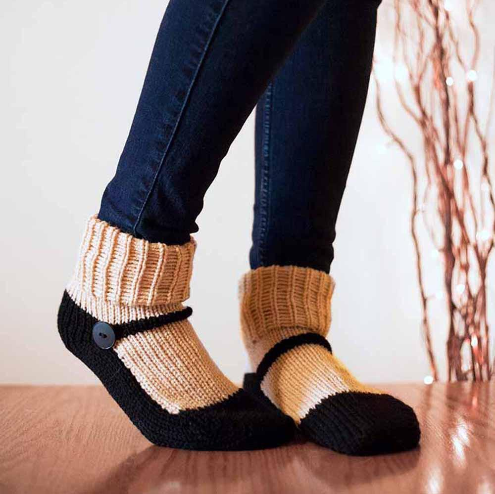 Nothingbutstring Slipper Socks Beige and Black Adult Mary Jane Knit Slipper Socks