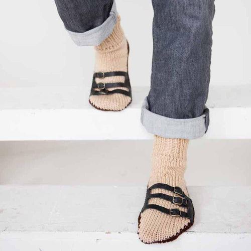 Nothingbutstring Slipper Socks Beige and Chocolate Brown Hand Made Knit Mens Slipper Socks with Leather Straps