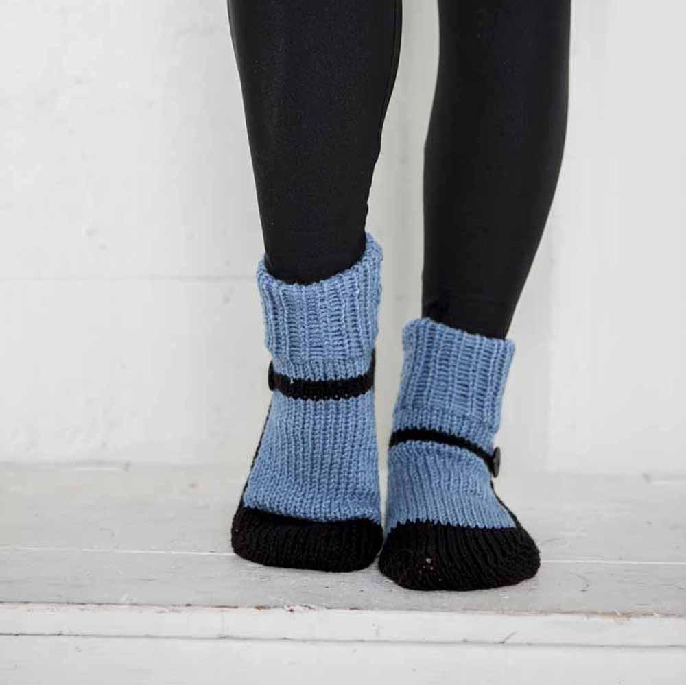 Nothingbutstring Slipper Socks Blue and Black Mary Jane Knitted House Slippers