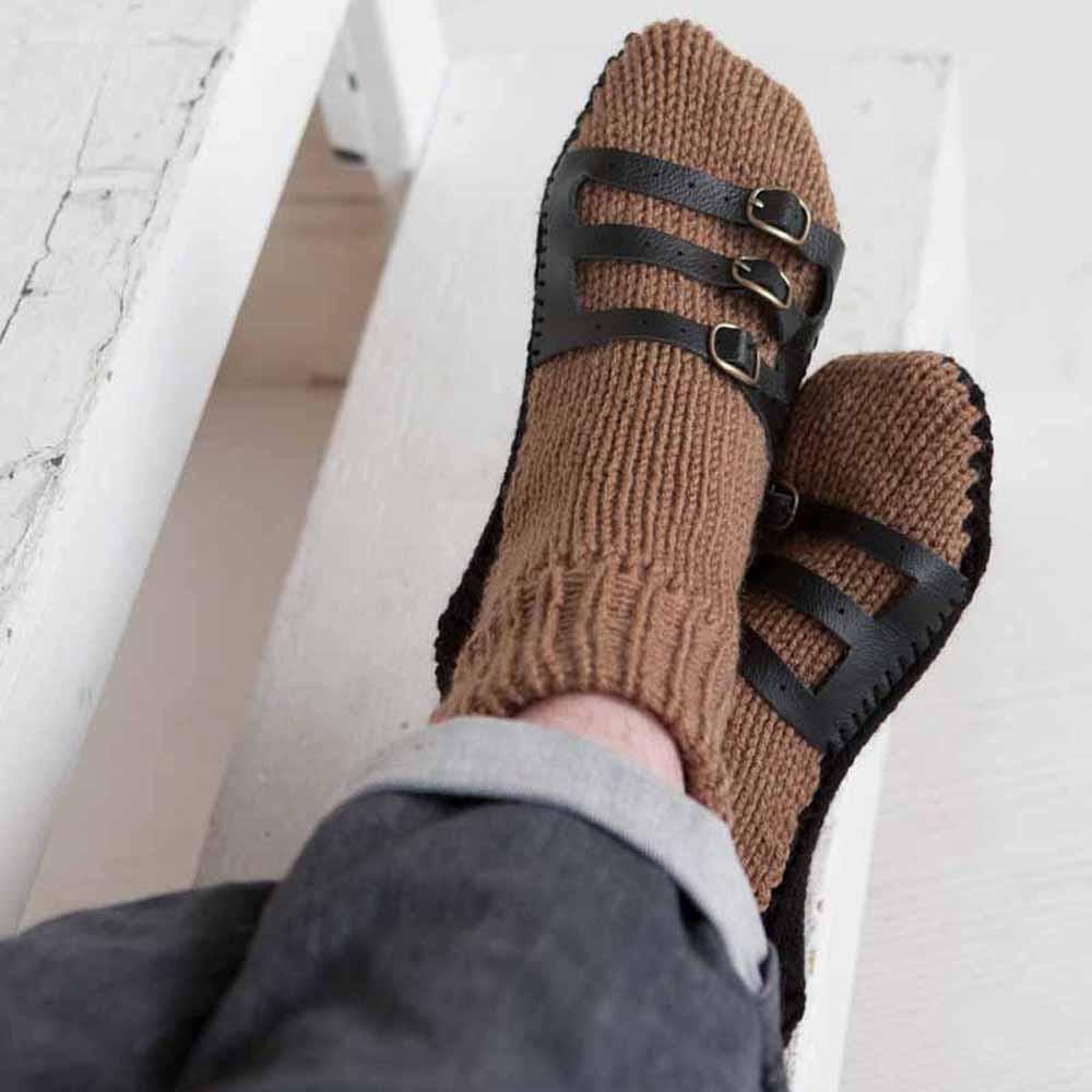 Nothingbutstring Slipper Socks Cafe Brown and Chocolate Brown Hand Made Knit Mens Slipper Socks with Leather Straps