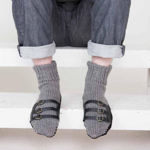 Nothingbutstring Slipper Socks Hand Made Grey and Black Knit Mens Slipper Socks with Leather Straps