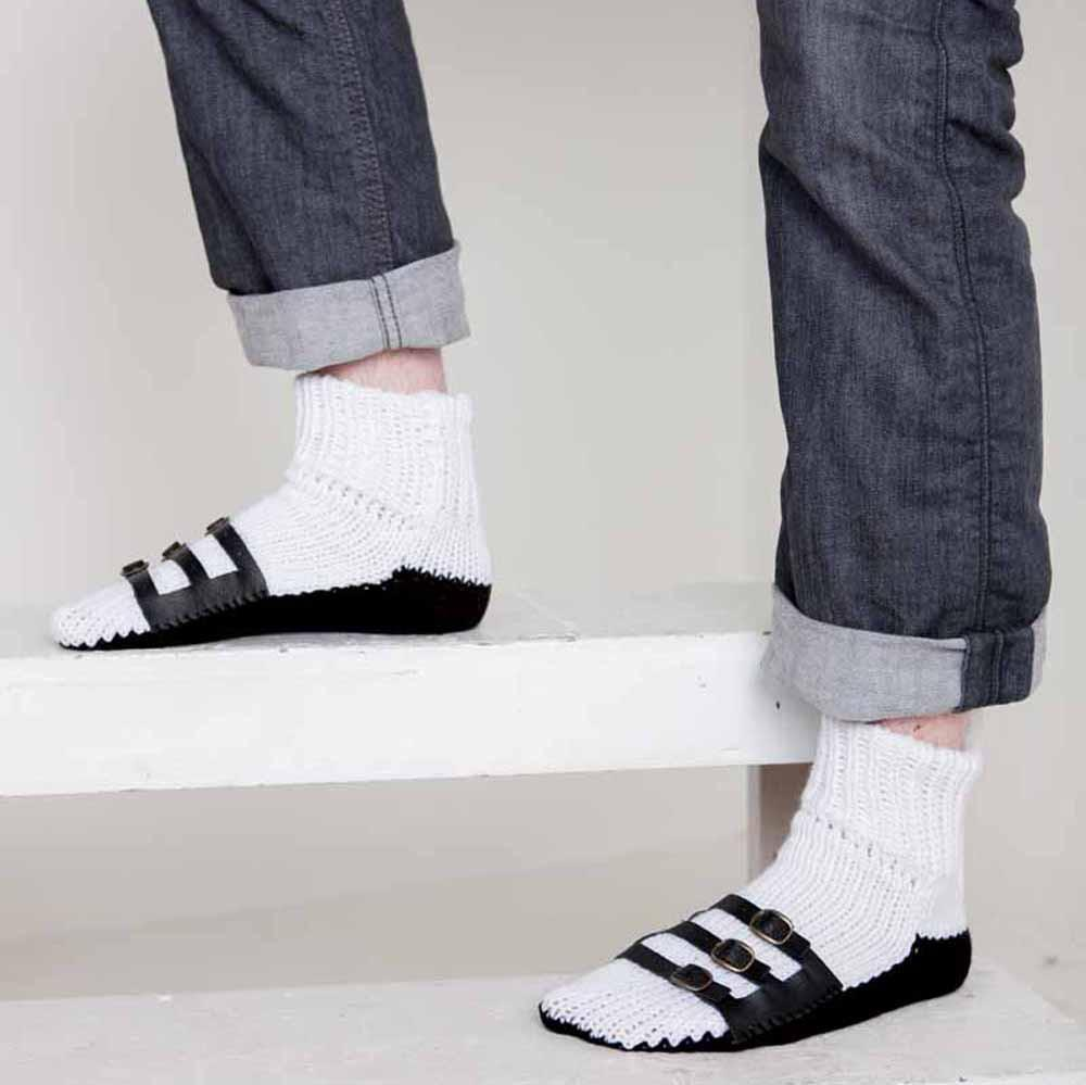Nothingbutstring Slipper Socks Hand Made White and Black Knit Mens Slipper Socks with Leather Straps