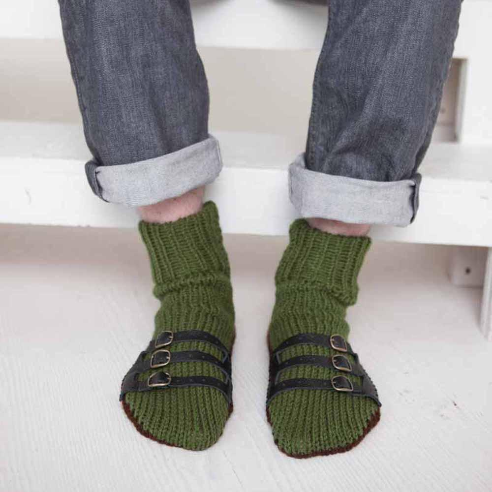 Nothingbutstring Slipper Socks Olive Green and Chocolate Brown Hand Made Knit Mens Slipper Socks with Leather Straps