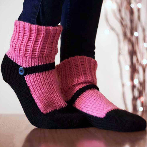 Nothingbutstring Slipper Socks Pink and Black Mary Jane Slipper Socks