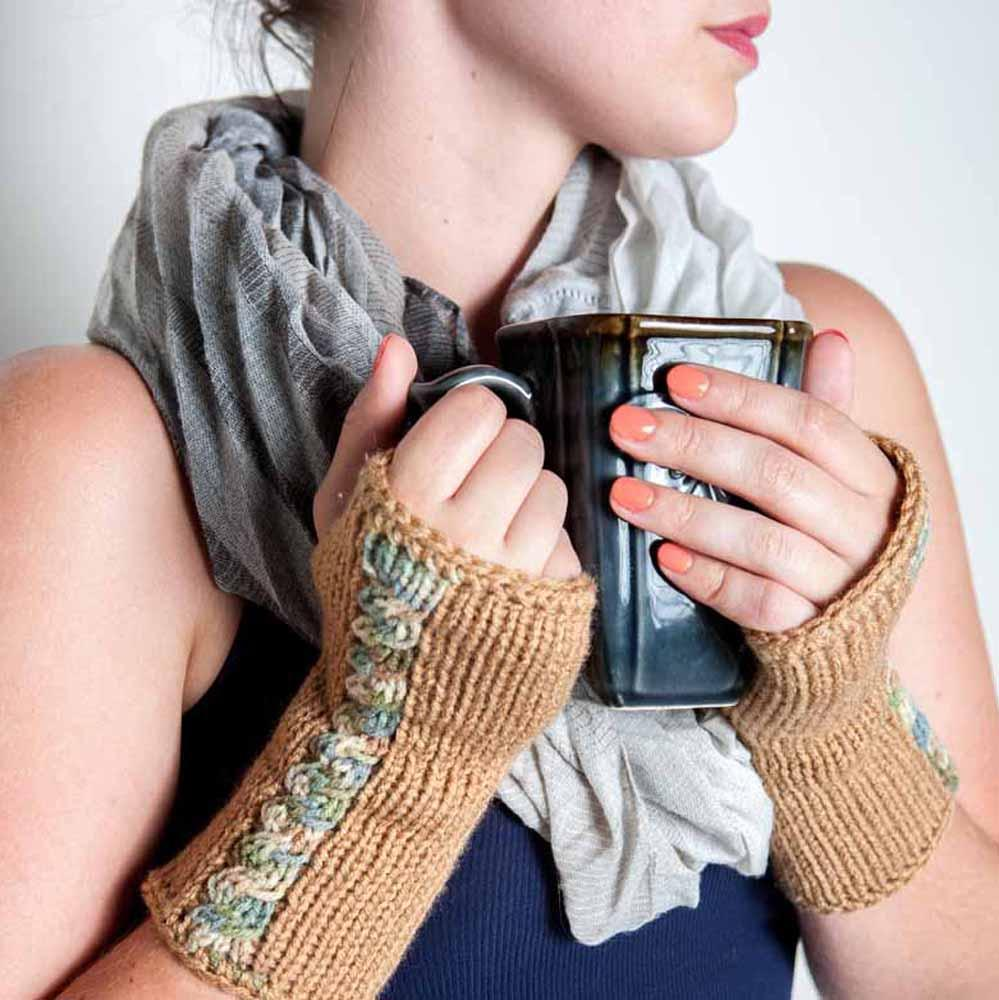 Nothingbutstring Warm Brown Knit Cable Fingerless Arm Warmers