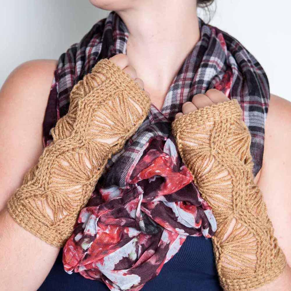 Nothingbutstring Warm Brown Lace Knit Fingerless Mittens