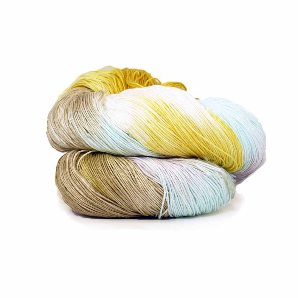 White, yellow, purple, green, beige colorway by Nothingbutstring