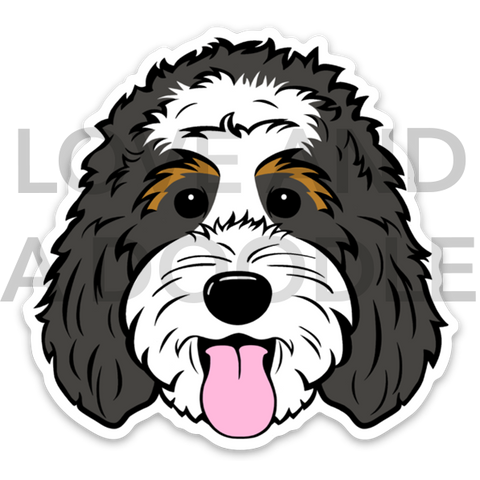 Happy Dood Sticker - Bernedoodle