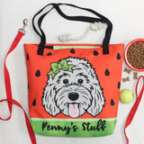 Doodle Ate My Homework large custom tote bag with pocket