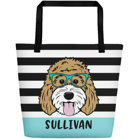 Stripes large custom tote bag with pocket - More colors available