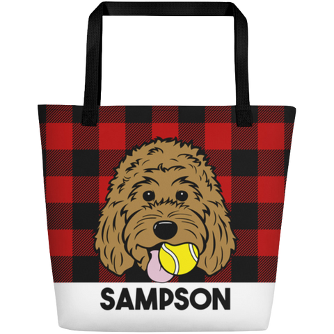 Buffalo Plaid large custom tote bag with pocket
