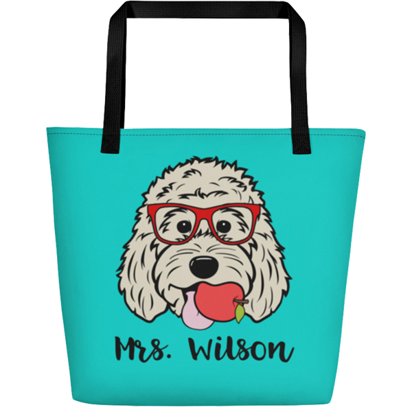 Teacher's Pet large custom tote bag with pocket