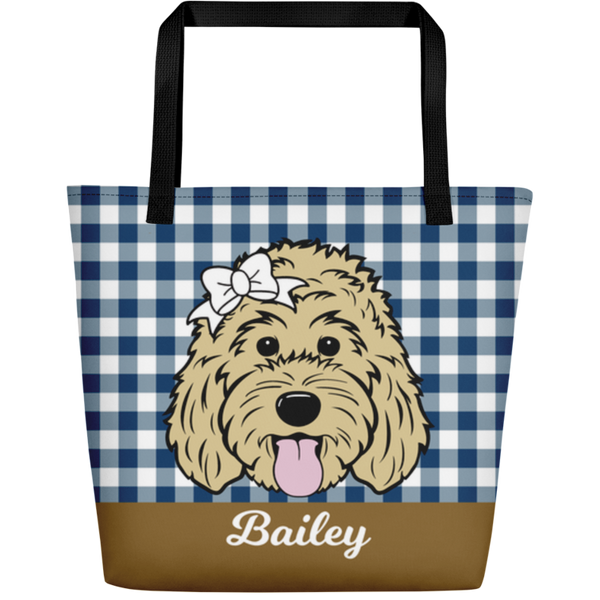 Gingham large custom tote bag with pocket