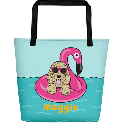 Flamingo Floatie large custom tote bag with pocket