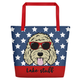 Pawtriotic Dood large custom tote bag with pocket