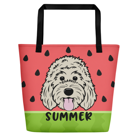Watermelon large custom tote bag with pocket