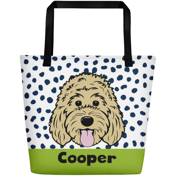 Dots & Spots large custom tote bag with pocket - More colors available