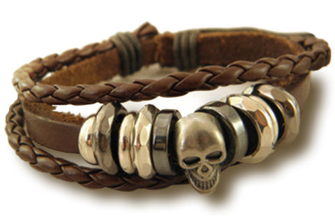 Vintage Braided Leather Bracelet Bangle Punk Rock Skull Wristband