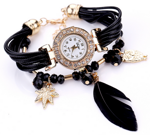 Duoya Quartz Watch Womens Fashion Bracelet Wristwatch and Charms
