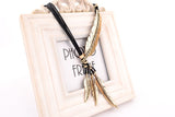Bohemian Style Bronze Rope Chain Feather Necklace