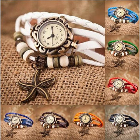 Decorative Ocean Quartz Watch Beaded Starfish Charm Batch Bracelet