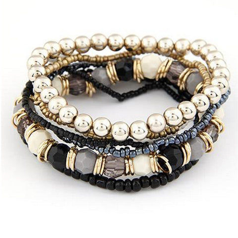 7Pcs Multilayer Acrylic Bead Bracelets 05A7