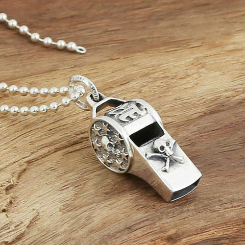 Skull Pirate 21g Whistle Charm - 925 Sterling Silver
