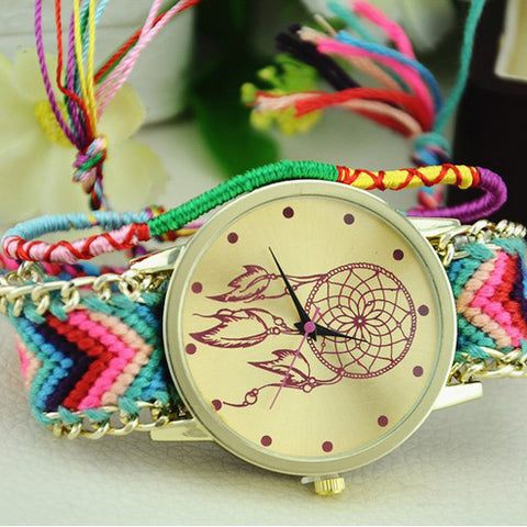 Handmade Braided Friendship Bracelet Ladies Dreamcatcher Watch