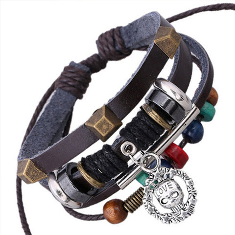 Bronze Studded Rivet Multilayer Beaded Vintage Skull Pendant Bracelet