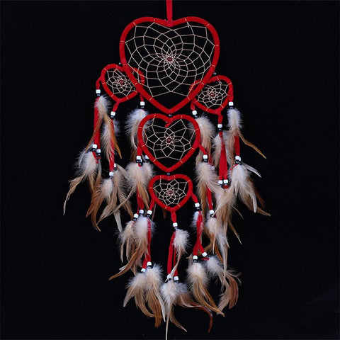 3 Tiered Heart Shaped Dreamcatcher Net with Feather Bead Hanging Decoration