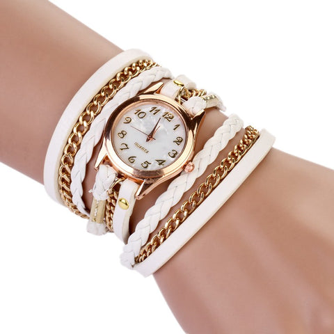 Bright Multi-band Hand Braided Casual Bracelet Fashion Watch