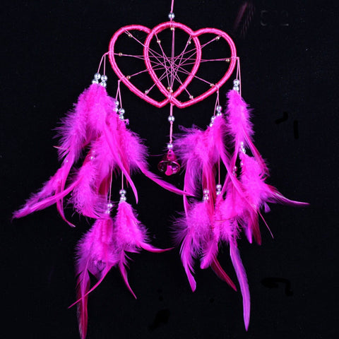 Handmade Nylon Pink Heart Feathered Dreamcatcher